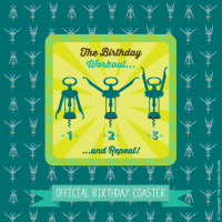 Birthday Workout Coaster & Card