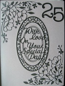 Handmade Silver Wedding Diecut card