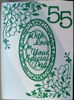 Handmade Emerald Wedding diecut card