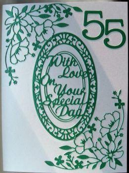 Handmade Emerald Wedding diecut card