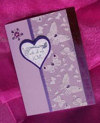 With love Hearts and Butterfly soft pink including box