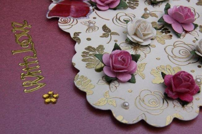 Close up of cream heart and pink roses handmade card
