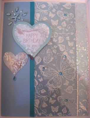 With love Hearts and Butterfly aqua including box