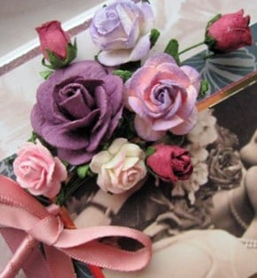 Close-up of paper roses bouquet
