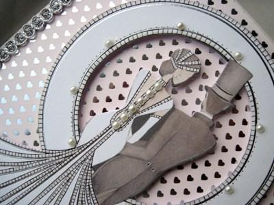 wedding day handmade card pink hearts close-up