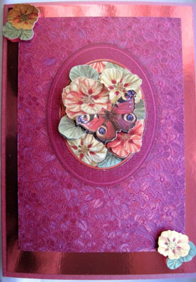 Red decoupage flowers handmade card