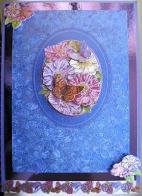Blue decoupage flowers handmade card