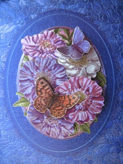 blue decoupage detail flowers and butterfly