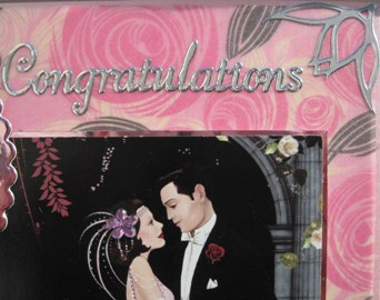 art deco handmade card, couple in pink and black detail