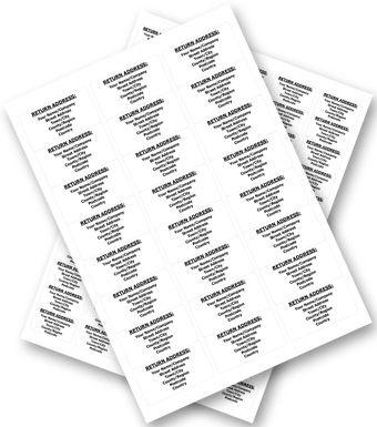 Personalised Return Address Labels 500 A4 sheets 24 labels per sheet