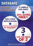 150 Datasafe Matt 3UP Full Face CD / DVD Labels