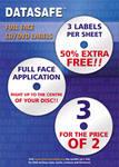 300 Datasafe Gloss 3UP Full Face CD / DVD Labels