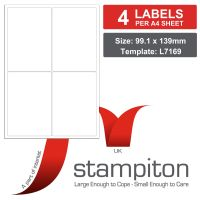 Stampiton Address Labels 25 A4 sheets 4 labels per sheet