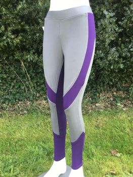 Gemini Silicone Riding Tights - Grey/Purple