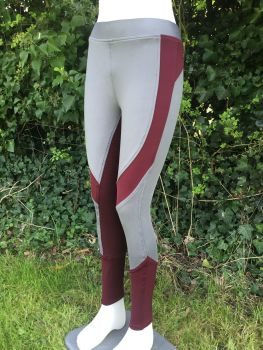 Gemini Full Silicone Seat Riding Tights - Grey/Plum