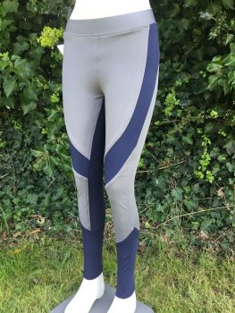 Gemini Full Seat Silicone Riding Tights - Grey/Navy