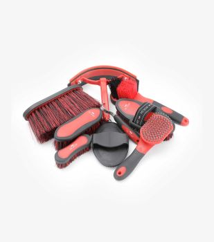 Premier Equine Soft Touch Grooming Kit - Black / Red
