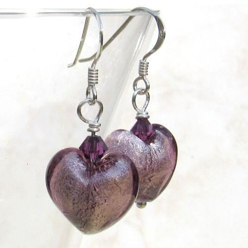 Light Amethyst Silver Foil Venetian Earrings