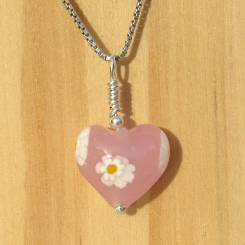 Pink Daisy Murano Heart Pendant and Chain
