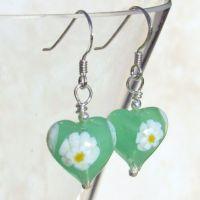 Green Daisy Murano Glass Earrings - MGE3d