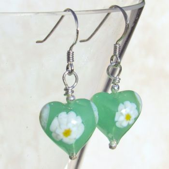 Green Daisy Murano Glass Earrings