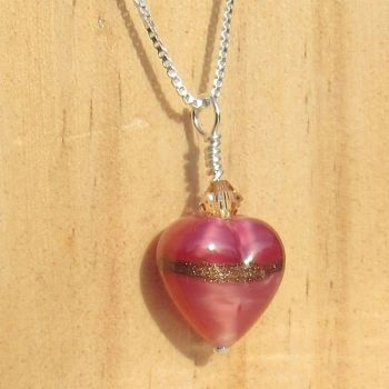 Rose Ruby Gold Murano Pendant