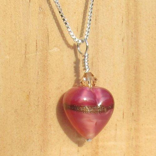 Rose Ruby Gold Murano Pendant