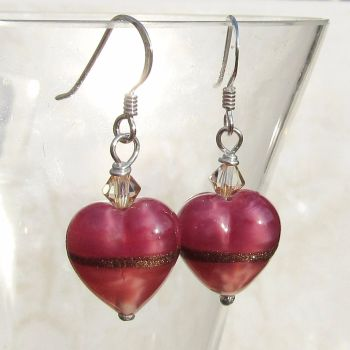 Rose Ruby Gold Heart Earrings