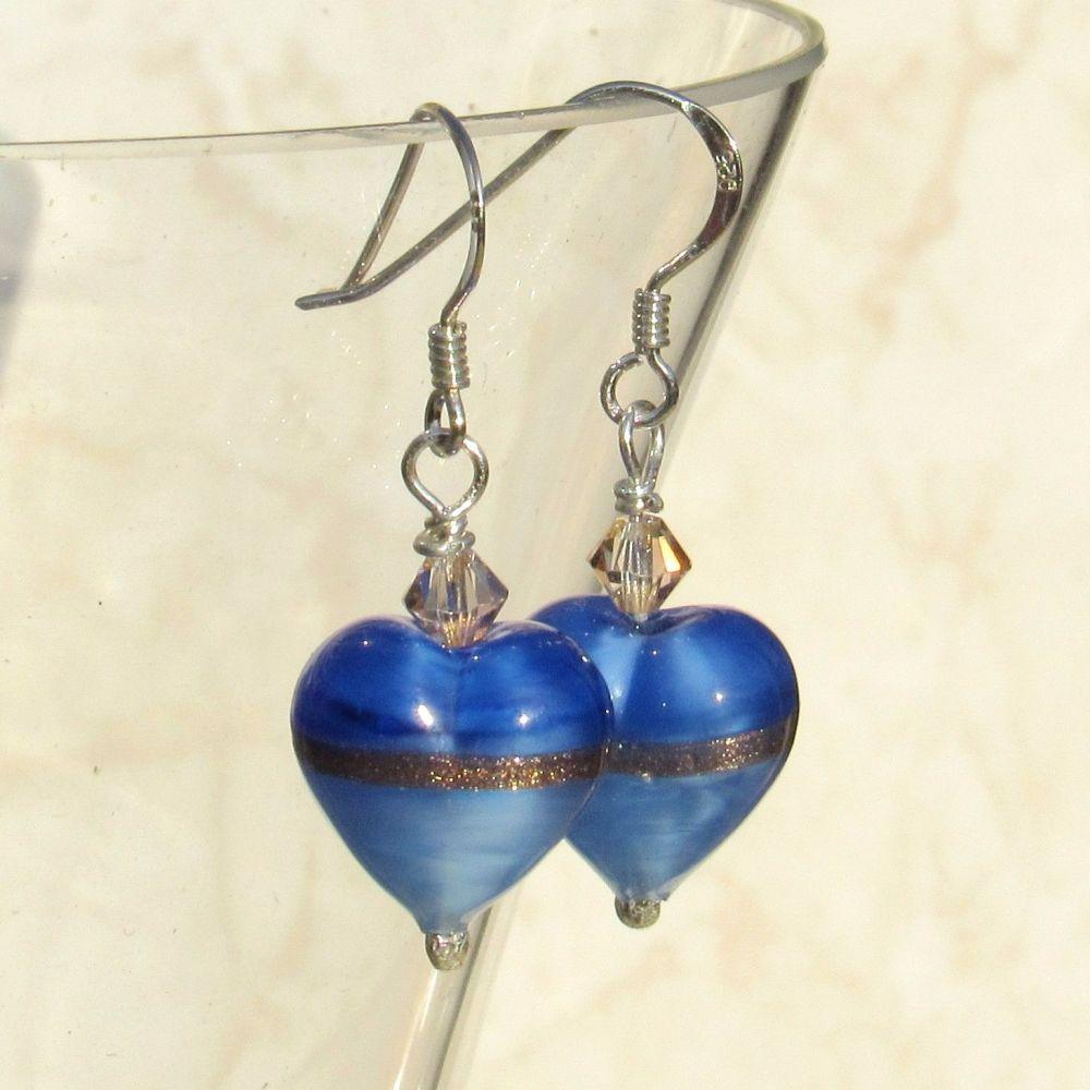 Provence Blue Gold Heart Earrings