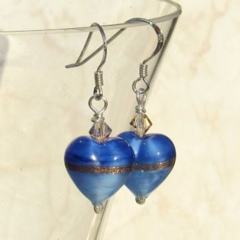Provence Blue Gold Heart Earrings