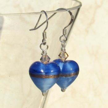 Provence Blue Gold Heart Earrings - MGE10