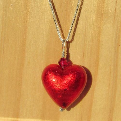 Silver 18mm Flame Red Heart