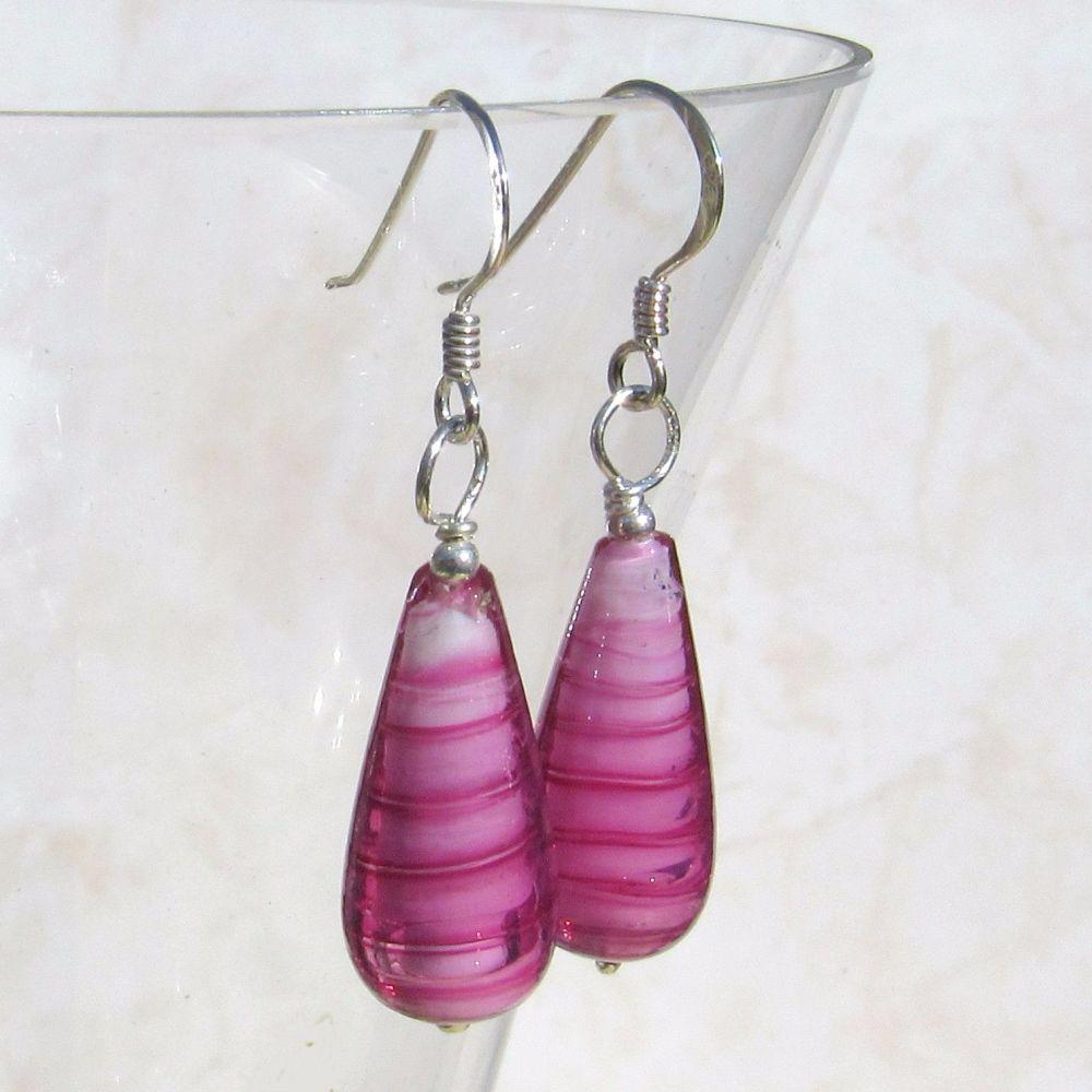 Rosa Teardrop Murano Earrings