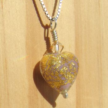 Purple, 24ct Gold Leaf, Murano Pendant - MGPA12