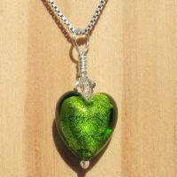 Light Emerald White Gold Foil Pendant - MGPA3le