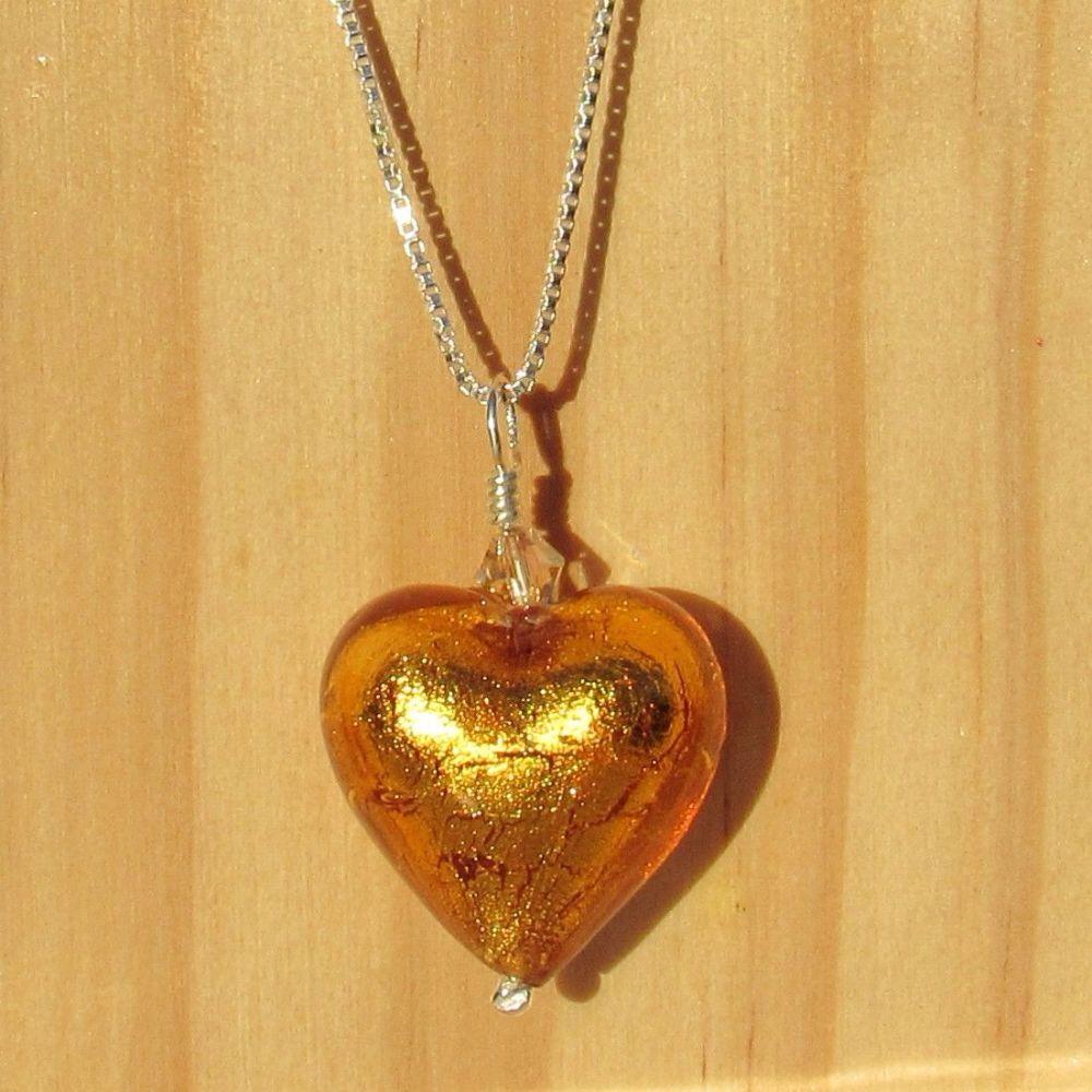 Topaz 18mm Murano Heart Necklace