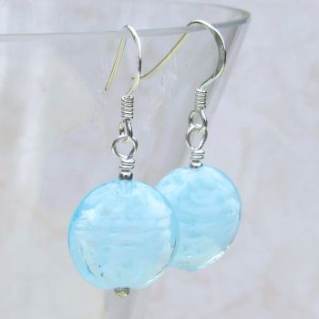 Blue 14mm Oval Cloud Earrings - MGE10nl