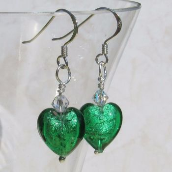 12mm Emerald Murano Hearts - MGE3