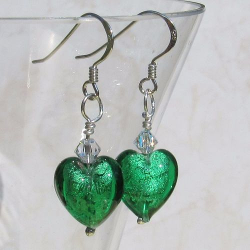 12mm Emerald Murano Hearts