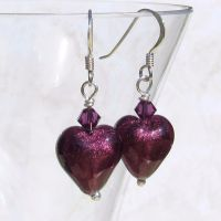 Dark Amethyst 12mm Murano Hearts - MGE1