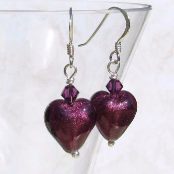Dark Amethyst 12mm Murano Hearts