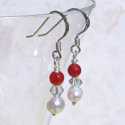 Red, Pearl and Swarovski Drops - BCE17