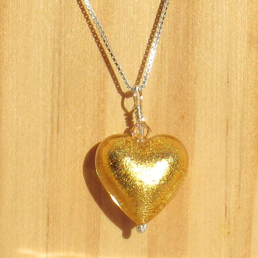 24ct Gold Foil 18mm Heart Pendant