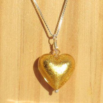 24ct Gold Foil 18mm Heart Pendant  - MGPA5