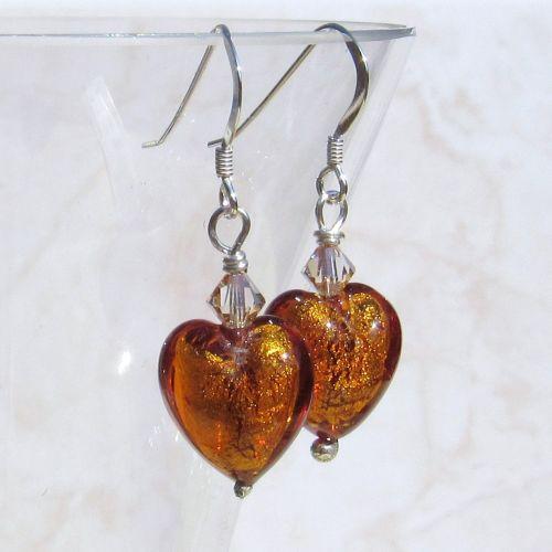 Amber Silver Foil Venetian Earrings