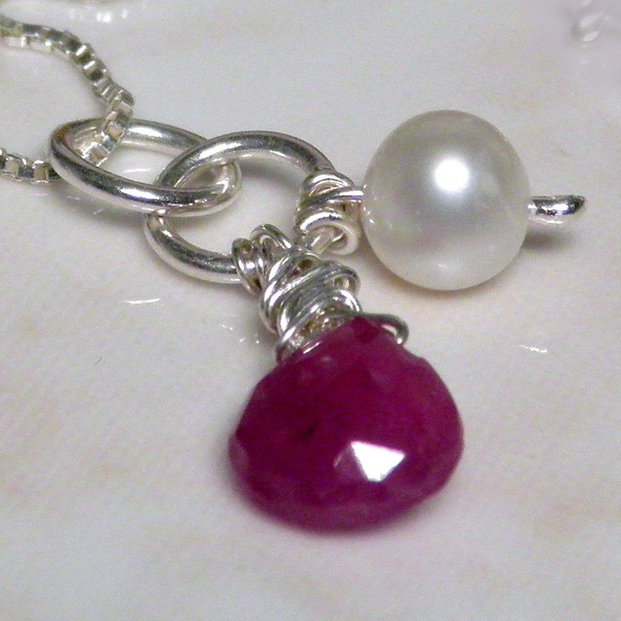 Faceted Ruby Heart and Pearl Silver Pendant - SO2