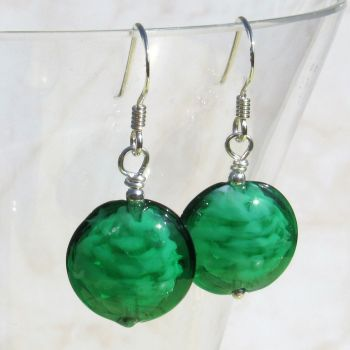 Green 14mm Oval Cloud Earrings - MGE3nl