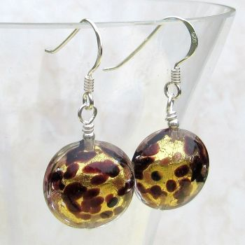 24ct Gold Foil Murano Disc Earrings - MGE15al