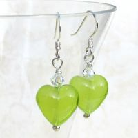Lime Green Murano Earrings - MGE3CAR13