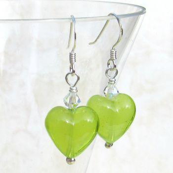 Lime Green Murano Earrings - MGE3CAR13